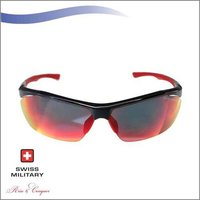 SWISS MILITARY Shiny Black Frame with brown Lens with matt red nose pad SUNGLASS