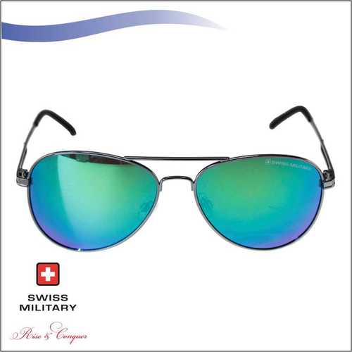 SWISS MILITARY SHINY GUN METAL FRAME&TEMPLES SUNGLASS