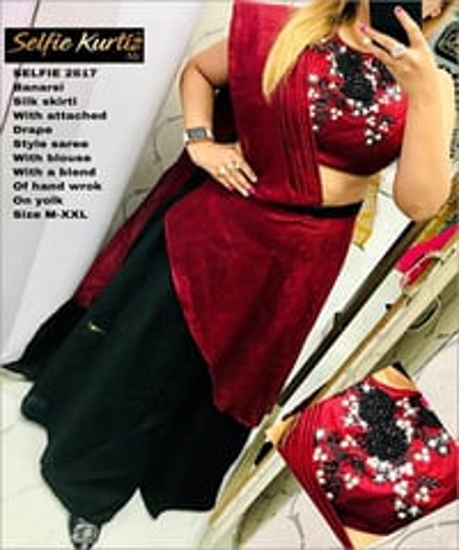 Banarasi Silk Skirti With Drape
