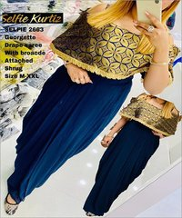 Georgette Drape Saree With Attached Shrug