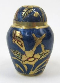 Brass Keepsake Urn Set Blue & Brass