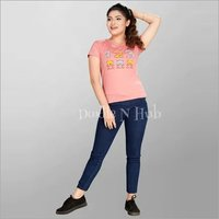 Women Casual Cartoon T shirt Short Sleeve Top.