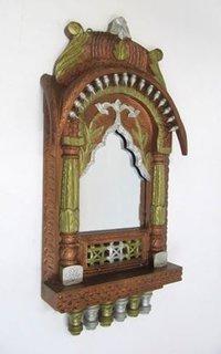 Wooden Jharokha Leaf Design Mirror