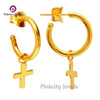 925 Sterling Silver Cross Hoop Earring