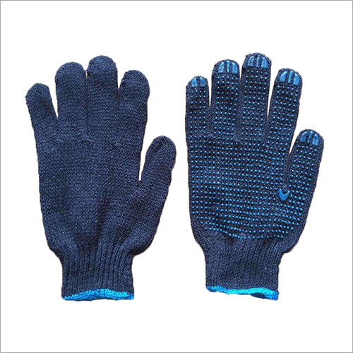 7 Gauge Blue Cotton Knitted PVC Dotted Gloves