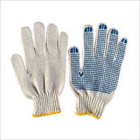 7 Gauge Cotton Knitted PVC Dotted Gloves