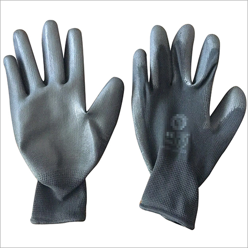 13 Gauge Black Polyester PU Coated Gloves