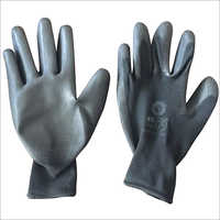 13 Gauge Black Polyester PU Coated Gloves