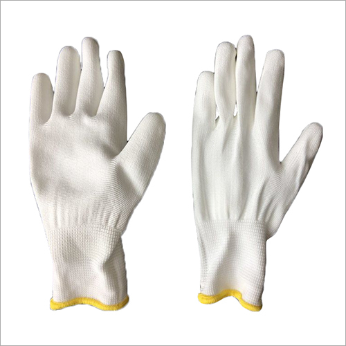 13 Gauge White Polyester PU Coated Gloves