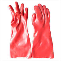 Red PVC Liner Polyester Gloves