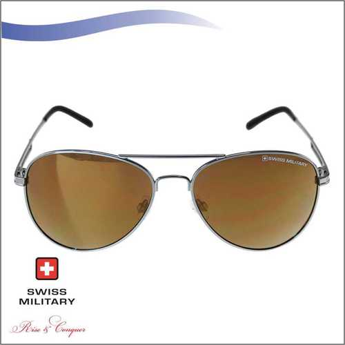 SWISS MILITARY SHINY GUN MEATAL FRAME&TEMPLES SUNGLASS