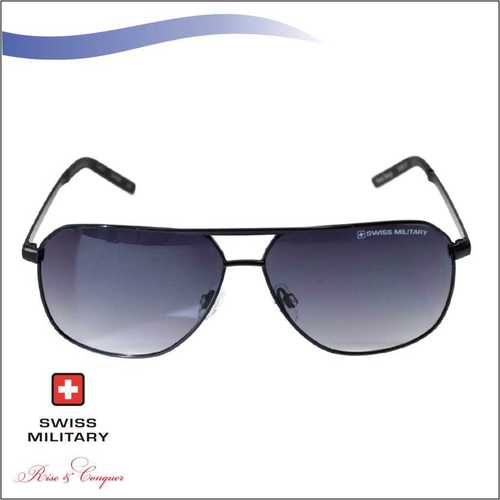 SWISS MILITARY SHINY NICKEL FRAME& TEMPLES SUNGLASS