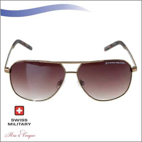 SWISS MILITARY SHINY CRYSTAL COCO BROWN FRAME SUNGLASS