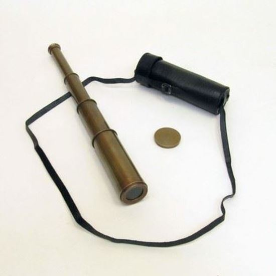 Antique Brass Telescope Retractable with leather