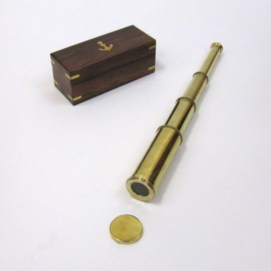 Solid Brass Pullout Telescope with Cap Wooden Box