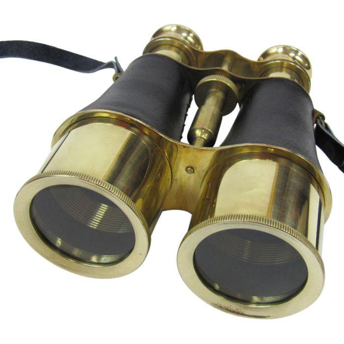 Brass Binoculars Leather Wrap