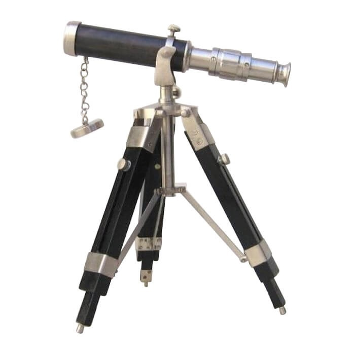 Telescope and Tripod Pewter Antique Finish Wooden