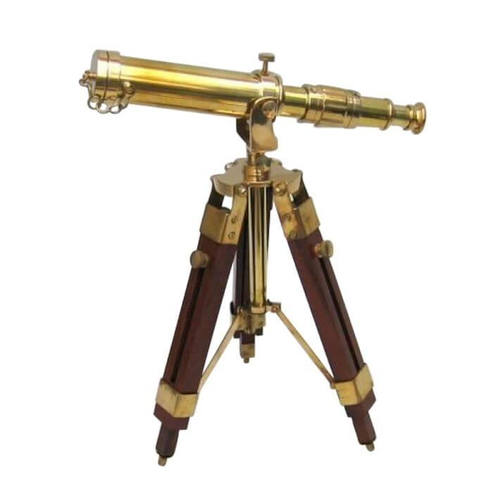 Brass Telescope on Wooden Base
