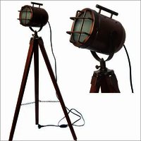 Antique Brass Wooden Tripod Lamp Spot Focus Searchlight Copper (Antique) home decorative