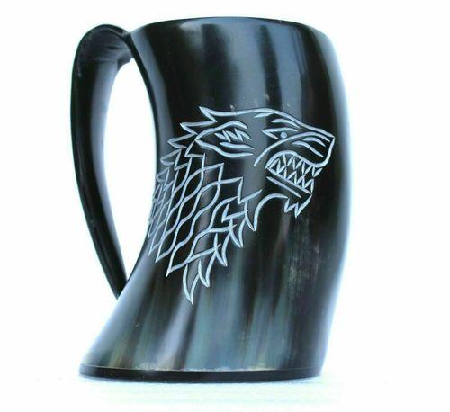 DRINKING Thrones ~Stark Sigil Wolf Viking-Drinking Horn Mug Cup~ Beer Wine Gift