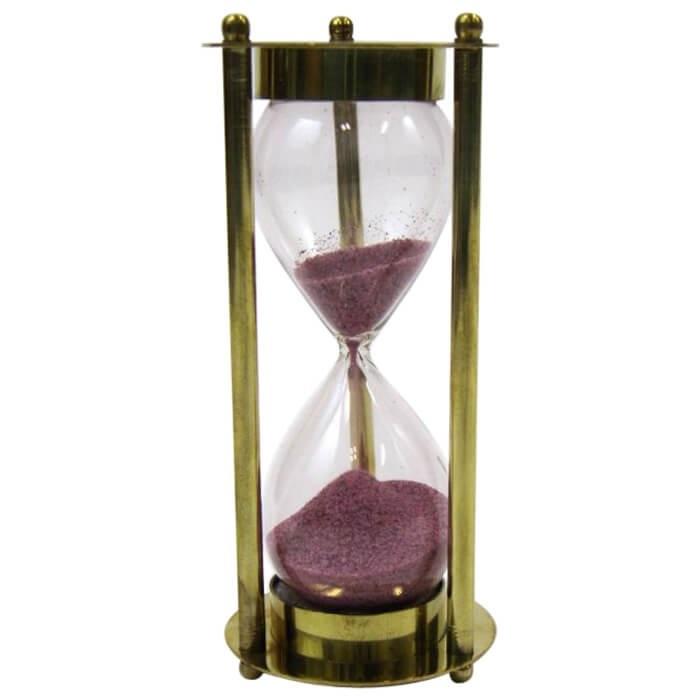 Brass 3-min. Hourglass Maroon Sand