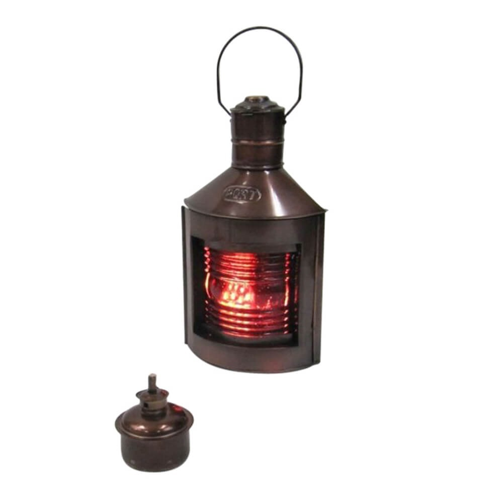 Iron Port red Ship Lantern with Oil Lamp
