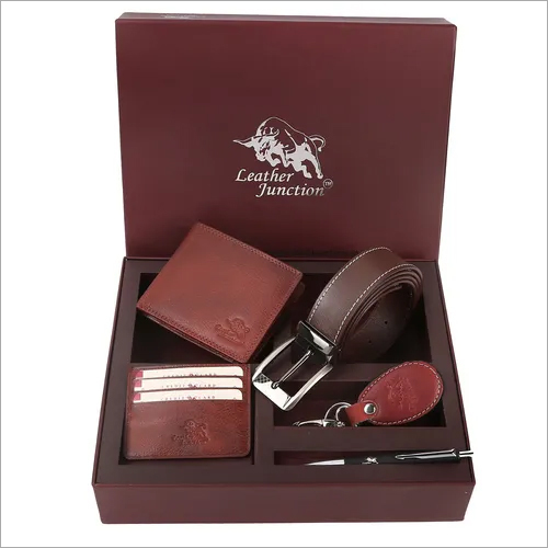 Brown Leather Combo Set For Men