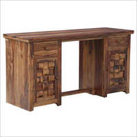 Solid Wood Writing Table With 2 Doors & 2 Drawers