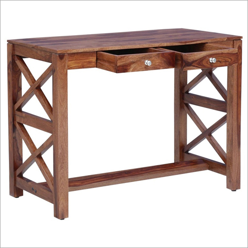 Cross Design 2 Drawers Wooden Console Table