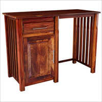 Hardwood Strip Study Table With Drawer & Door