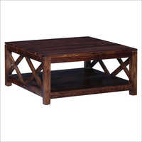 Cross Design Solid Wood Square Center Table