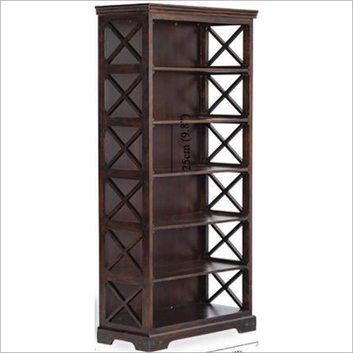 Cross Design Solid Wood Bookshelf
