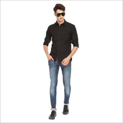 Black Mens Solid Shirt