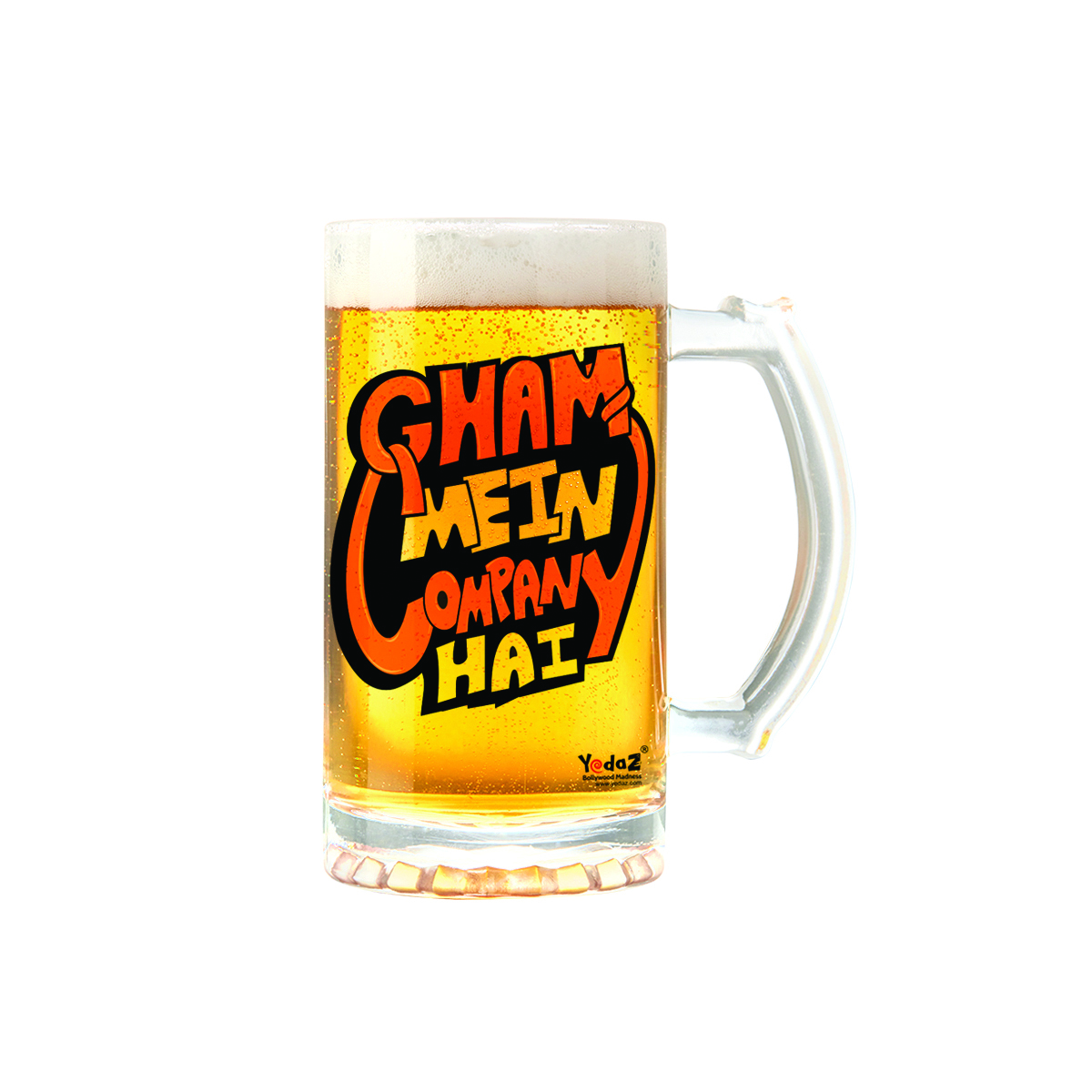 Gham Mein Company Hai | 600ml - Yedaz Matte Finish Glass Bollywood Beer Mug