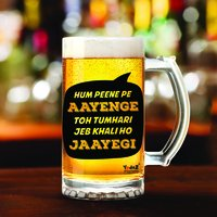 Hum Peene Pe Aayenge | 600ml - Yedaz Matte Finish Glass Bollywood Beer Mug