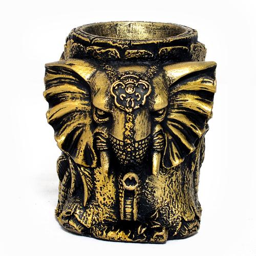 Home Decoration Handmade Elephant Design Resin Pen Stand