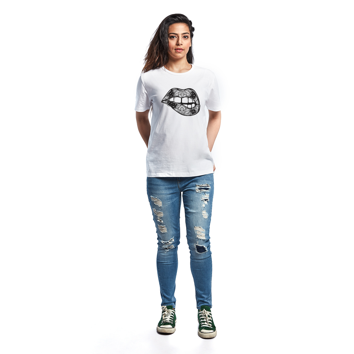Artistic Lips Yedaz Women's Printed Trendy T-Shirt
