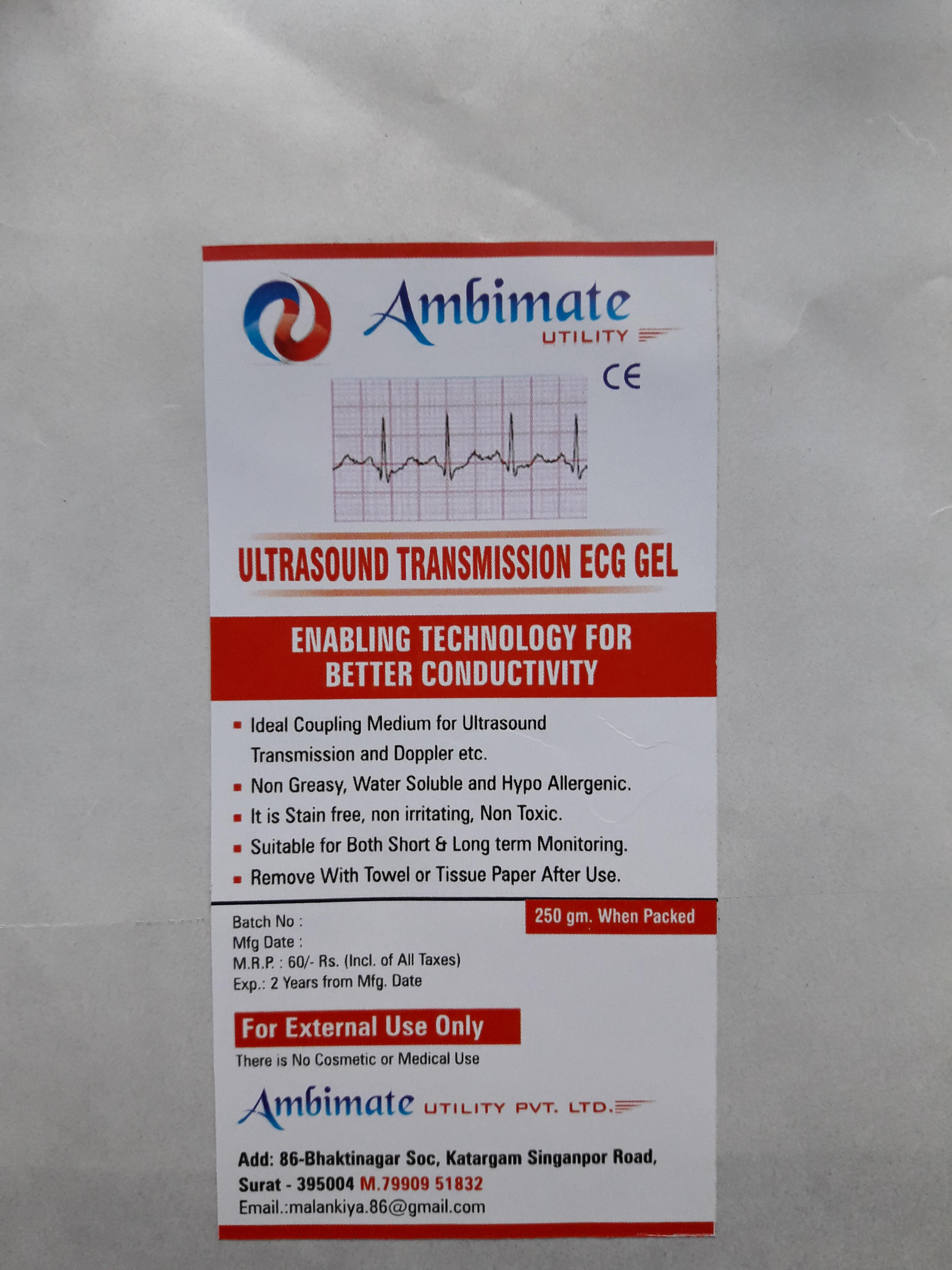 250 gm 100% Sterile ECG Ultrasound Gel