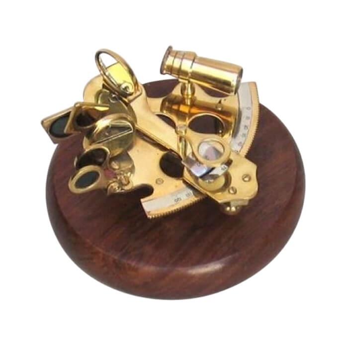 Brass Sextant Wooden Base