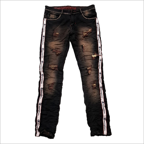 Mens Contrast Tape Ripped Jeans