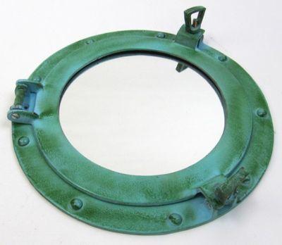 Porthole Mirror Aluminum Green 9 Inch