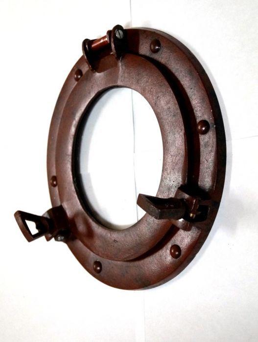Porthole Mirror Aluminum Rust 9 inch