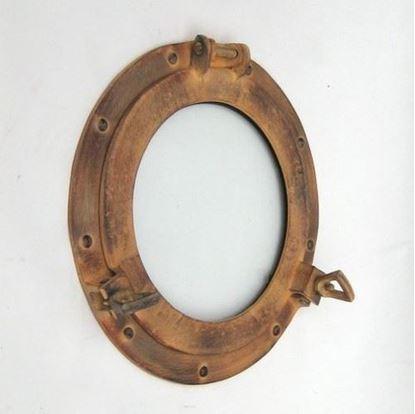 Porthole Glass Aluminum Tan Rust 11 Inch