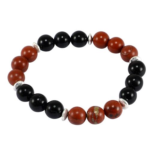 Red Jasper & Black Onyx Jaipur Rajasthan India 925 Sterling Silver Stretchable Handmade Jewelry Manufacturer Bracelet For Unisex