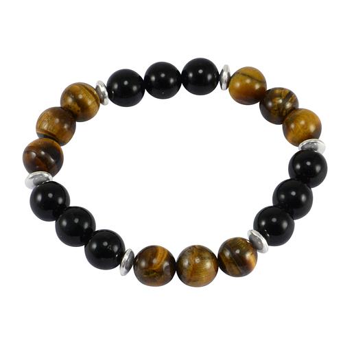 Tiger Eye & Black Onyx Handmade Jewelry Manufacturer 925 Sterling Silver Stretchable Healing Jaipur Rajasthan India Bracelet