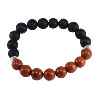 10mm Beads Handmade Jewelry Manufacturer Red Jasper & Matte Onyx Jaipur Rajasthan India 925 Sterling Silver Stretchable Bracelet