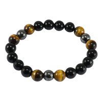 Jaipur Rajasthan India Round Beaded Tiger Eye, Hematite & Black Onyx Stretchable Bracelet Handmade Jewelry Manufacturer