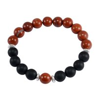 10mm Beads Handmade Jewelry Manufacturer Red Jasper & Matte Onyx 925 Sterling Silver Jaipur Rajasthan India Stretchable Bracelet