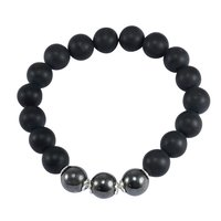 Matte Onyx & Hematite Handmade Jewelry Manufacturer 925 Sterling Silver Stretchable Jaipur Rajasthan India Beaded Bracelet