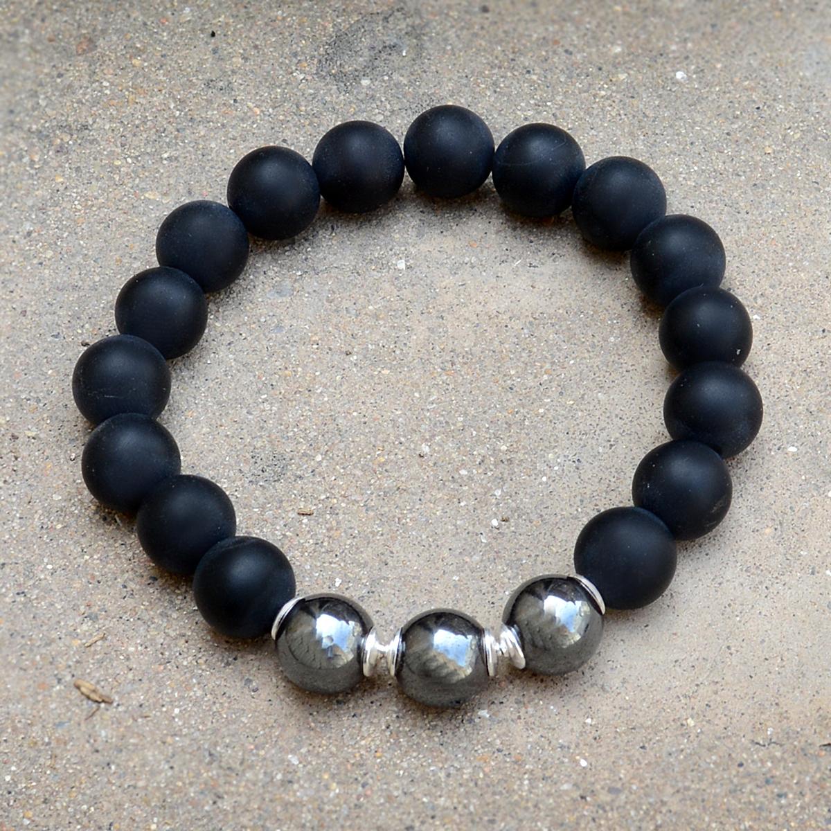 Matte Onyx & Hematite Handmade Jewelry Manufacturer 925 Sterling Silver Stretchable Jaipur Rajasthan India Beaded Bracelet